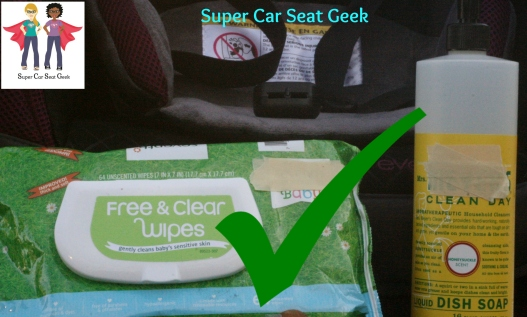 Yes, folks. It's just that simple. Baby wipes &/or a small amount mild dish soap on a damp (not soaking wet!) sponge or washcloth are safe to use on a harness or seat belt.