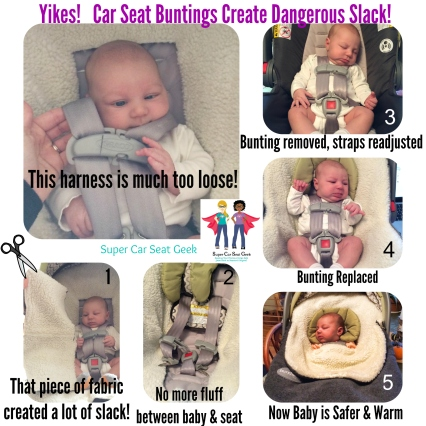Baby, it's cold outside! But did you know that using products such as the B*ndle Me in your car seat can introduce dangerous slack & alter the way your seat was designed to perform?  A safer alternative is to cut out the entire portion that goes between your child and their seat. You can also utilize a shower-cap style cover instead or simply tuck some cozy blankets over baby's fastened harness.  Stay warm (but safe!), everyone! heart emoticon