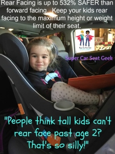 "Did you know that there are car seats that will rear face to as much as 50 pounds and seats that can get even the tallest of children to about age 4 RF?! Rear facing is so much safer! Don't rush that next step! ""C"" is still rear facing in a Graco Size4Me, in a Hyundai Elantra at 4 years old, 38lbs & 41"" tall. Safely. Happily. Comfortably."