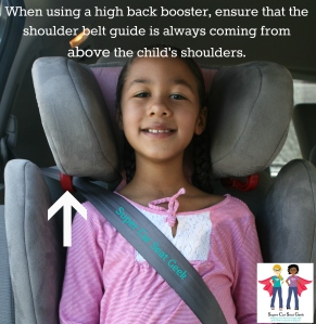 Do you have an older child who's now in a high back booster? Did you know that the way that the seat belt is routed through the booster is essential to how it functions in the event of a crash?  Make sure that the seat back is adjusted so that the shoulder belt is coming from above the child's shoulders.