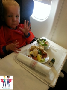 A huge advantage of a forward-facing Diono in flight is that it positions the tray table perfectly for the child!