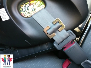 With it's built-in lock-offs, it's rare that one would need a locking clip (shown here) at your destination, but it's a good idea to travel with one just in case. If your car seat does not have built-in lock-offs, you should bring a locking clip with you, especially if you travel outside of the U.S.